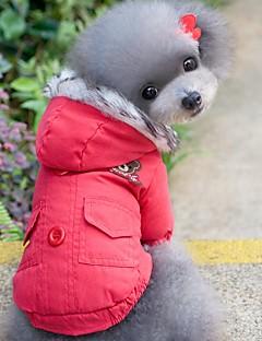billiga Hundkläder-Katt Hund Kappor Huvtröjor Hundkläder Enfärgad Röd Blå Cotton Kostym För husdjur Herr Dam Vindtät Håller värmen