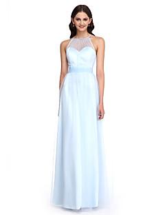 מעטפת \ עמוד עם תכשיטים עד הריצפה טול שמלה לשושבינה  עם סרט סלסולים על ידי LAN TING BRIDE®