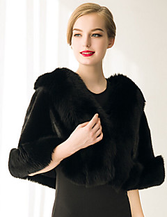 cheap -Sleeveless Faux Fur Wedding Party Evening Casual Women's Wrap With Feathers / fur Capelets