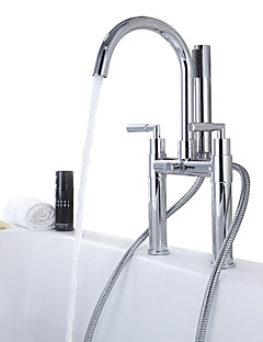 billige Sidesray-Badekarskran - Moderne Krom Badekar Og Dusj Keramisk Ventil Bath Shower Mixer Taps / Tre Håndtak to hull