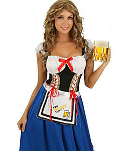 billige Halloweenkostymer-Oktoberfest / bayerske Cosplay Kostumer / Party-kostyme Dame Halloween / Oktoberfest Festival / høytid Halloween-kostymer Blå / Svart