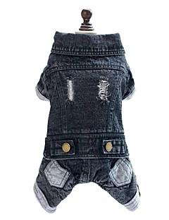 billiga Hundkläder-Hund Jumpsuits Jeansjackor Hundkläder Jeans Svart Denim Kostym För husdjur Herr Dam Cowboy Mode