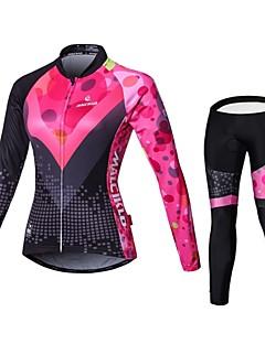 billige Sykkelklær-Malciklo Dame Langermet Sykkeljersey med tights - Svart/Rosa Britisk Sykkel Tights Med Seler Jersey Klessett, 3D Pute, Fort Tørring,