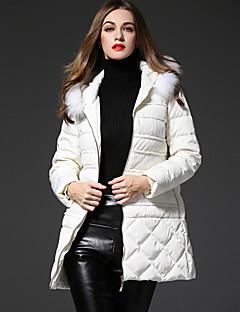 frmz kvinners heldekkende hvit ned coatsimple hette langermet