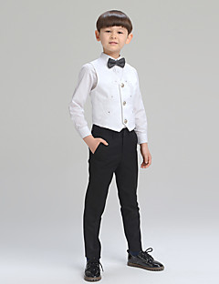 cheap Ring Bearer Suits-Silver White+Blue Balck+white White/Black Cotton Ring Bearer Suit - Four-piece Suit Includes  Jacket Shirt Pants Bow Tie