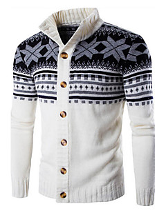Men's Daily Casual Regular Cardigan,Striped Print Long Sleeves Cotton Winter Fall Medium Stretchy