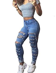 お買い得  ダメージ-女性用 ストリートファッション スリム チノパン ジーンズ パンツ ソリッド