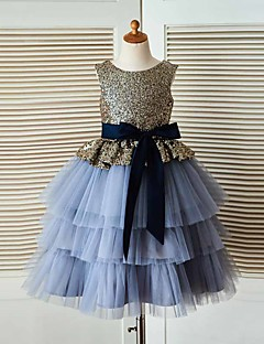 cheap Flower Girl Dresses-A-Line Tea Length Flower Girl Dress - Tulle / Sequined Sleeveless Jewel Neck with Sash / Ribbon by LAN TING Express