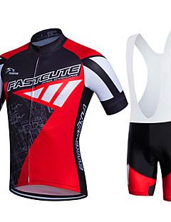 billiga Cykling-Fastcute Herr / Dam Kortärmad Cykeltröja med Haklapp-shorts Cykel Bib Tights / Klädesset, 3D Tablett, Snabb tork, Andningsfunktion, Svettavvisande Polyester, Lycra Sport / Elastisk
