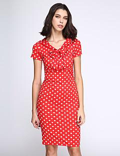 Χαμηλού Κόστους Polka Dot Dresses-Γυναικεία Εφαρμοστό Φόρεμα - Πουά, Φιόγκος