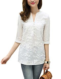 סרוג צווארון V פשוטה / סגנון רחוב ליציאה חולצה נשים אורך חצי שרוול לבן דק כותנה