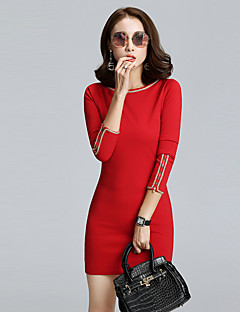 Women's Going out / Formal Simple / Street chic Sheath DressPatchwork Round Neck Above Knee Long Sleeve