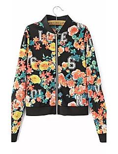 Damen Blumen Niedlich Ausgehen Jacke,Herbst Ständer Langarm Schwarz Mittel Polyester