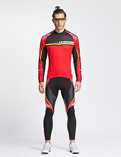 billige Sett med sykkeltrøyer og shorts/bukser-TASDAN Herre Langermet Sykkeljersey med tights - Svart Sykkel Tights Jersey Bukser Klessett, 3D Pute, Fort Tørring, Pustende,