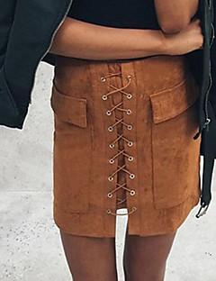 Χαμηλού Κόστους Mini Skirt-Γυναικεία Εφαρμοστό Φούστες - Μονόχρωμο, Σκίσιμο
