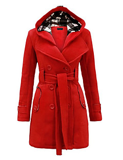 Women's Daily Wear Chic & Modern Winter Trench Coat,Solid Hooded Long Sleeve Long Woolen