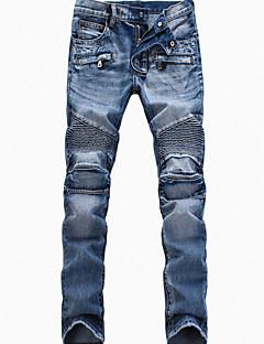 baratos Roupa de Moda de Homem-Homens Algodão Delgado Jeans Calças - Sólido / Final de semana