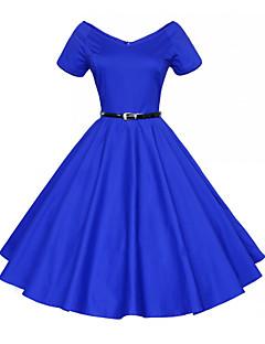 billige Vintage-dronning-Dame I-byen-tøj Vintage Bomuld Skede Kjole - Ensfarvet / Blomstret, Flettet Knælang V-hals