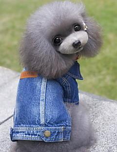 billiga Hundkläder-Hund Jeansjackor Hundkläder Jeans Blå Denim Kostym För husdjur Herr Dam Gulligt Cowboy Mode