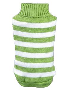 abordables -Chat Chien Pull Vêtements pour Chien Décontracté / Quotidien Rayure Vert Bleu Rose Costume Pour les animaux domestiques