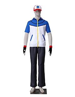 """Inspirert av Pocket Little Monster Ash Ketchum Anime  """"Cosplay-kostymer"""" Cosplay Klær Ensfarget Kortermet Topp Bukser Hansker Hatt Til"""