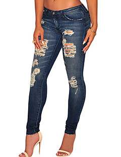 Women's  Dark Sandblast Wash Denim Destroyed Skinny Jeans
