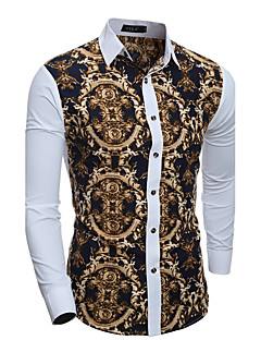 cheap Men's Shirts-Men's Vintage Cotton Slim Shirt - Geometric Patchwork Classic Collar / Long Sleeve / Spring / Fall