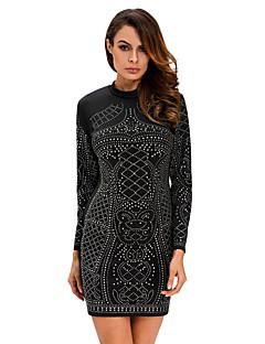 Χαμηλού Κόστους Sequin Dresses-Γυναικεία Εφαρμοστό Φόρεμα - Μονόχρωμο, Χάντρες