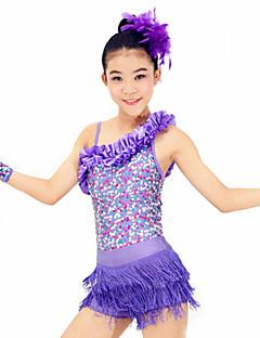 hesapli -Latin Dansı Elbiseler Performans Spandeks Polyester Süs Pullu 4 Parça Kolsuz Yüksek Elbise Eldivenler Başlıklar