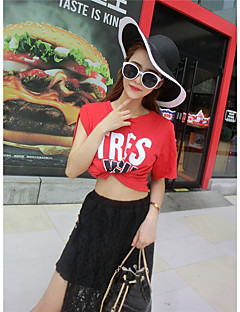 Women's Going out Sexy Summer T-shirt Skirt Suits,Solid / Letter Round Neck Short Sleeve Red / White Cotton Thin