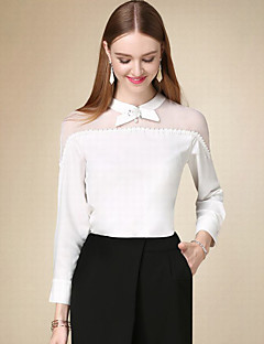 Χαμηλού Κόστους DOF-Γυναικείο Μπλούζα Καθημερινά Απλό Μονόχρωμο,Μακρυμάνικο Στρογγυλή Ψηλή Λαιμόκοψη Φθινόπωρο Λεπτό Βαμβάκι