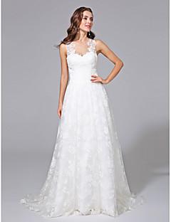 billiga A-linjeformade brudklänningar-A-linje Illusion Halsband Svepsläp Spets Bröllopsklänningar tillverkade med Applikationsbroderi av LAN TING BRIDE®
