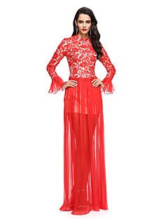 billiga Kändisklänningar-Åtsmitande Prydd med juveler Golvlång Chiffong Spets Bal / Formell kväll Klänning med Plisserat av TS Couture®
