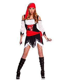 サンタスーツ 海賊 コスプレ衣装 パーティーコスチューム 女性用 ハロウィーン イベント/ホリデー ハロウィーンコスチューム 赤 + 黒 プリント