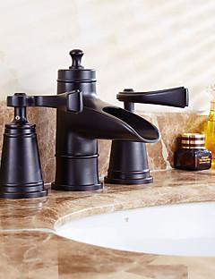billige Sidesray-Moderne Art Deco/Retro Udspredt Forskyll Foss Utbredt Messing Ventil To Håndtak fire hull Antikk Kobber, Baderom Sink Tappekran