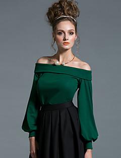Normal Pullover Ut på byen Sexy Enkel Dame,Ensfarget Løse skuldre Langermet Bomull Vår Høst Medium Elastisk