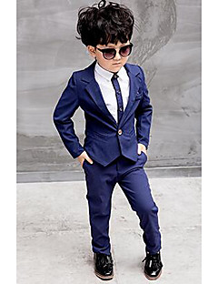 cheap Boys' Jackets & Coats-Boys' Formal Solid Shirt Suit & Blazer, Polyester All Seasons Long Sleeves Dresswear Red Blue