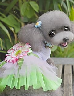baratos -Gato Cachorro Vestidos Roupas para Cães Fofo Fashion Flor Verde Rosa claro Ocasiões Especiais Para animais de estimação