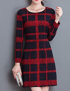 Kadın Günlük/Sade Vintage Kılıf Elbise Ekose,Uzun Kollu Yuvarlak Yaka Diz üstü Kırmızı / Siyah Polyester Tüm Mevsimler Normal Bel