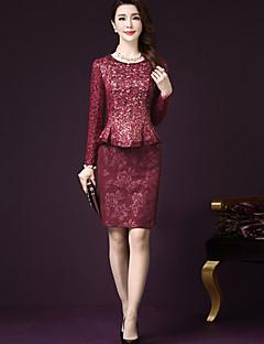 お買い得  レディースツーピースセット-女性用 プラスサイズ ブラウス セット - ビーズ, チェック スカート