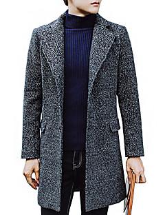 Polyester Blå / Rød / Grå Medium Langermet,Skjortekrage Frakk Ensfarget Enkel Fritid/hverdag-Høst / Vinter Herre