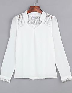 Femei În V Bluză Casul/Zilnic Plus Size,Mată Manșon Lung Toate Sezoanele-Alb Subțire Poliester