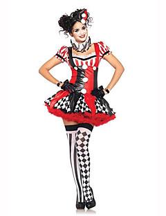 Burlesk/Klovn Kvinnelig Halloween Jul Karneval Barnas Dag Nytt År Oktoberfest Festival/høytid Halloween-kostymer Rød/Svart Trykt mønster
