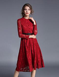 Feminino Rendas Vestido,Casual Moda de Rua Sólido Colarinho Chinês Médio Manga Longa Vermelho Algodão Outono Cintura Alta Micro-Elástica