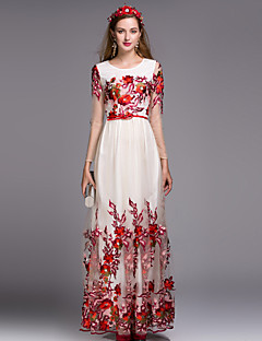 Women's Daily Chinoiserie A Line Dress,Embroidered Round Neck Maxi Long Sleeves Polyester Fall Mid Rise Inelastic Medium