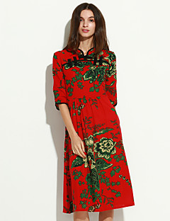 여성의 루즈핏 / 칼집 드레스 캐쥬얼/데일리 귀여운 / 스트리트 쉬크 플로럴,스탠드 미디 ¾ 소매 블루 / 레드 면 가을