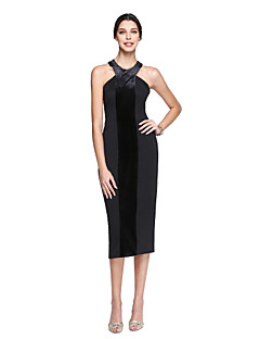 cheap Celebrity Dresses-Sheath / Column Halter Tea Length Velvet Chiffon Matte Satin Cocktail Party / Homecoming / Prom Dress with Pleats by TS Couture®