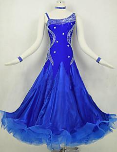 hesapli -Balo Dansı Elbiseler Kadın's Performans Splandeks Organze Kristaller / Yapay Elmaslar Ayrık Renkler Uzun Kollu Doğal Elbise