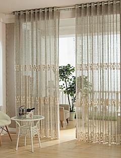 baratos Cortinas Transparentes-Anéis Um Painel Tratamento janela Europeu, Oco Quarto Poliéster Material Sheer Curtains Shades Decoração para casa