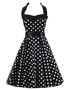 Women's Going out Vintage A Line Dress,Polka Dot Halter Knee-length Sleeveless Cotton Summer High Rise Micro-elastic Medium